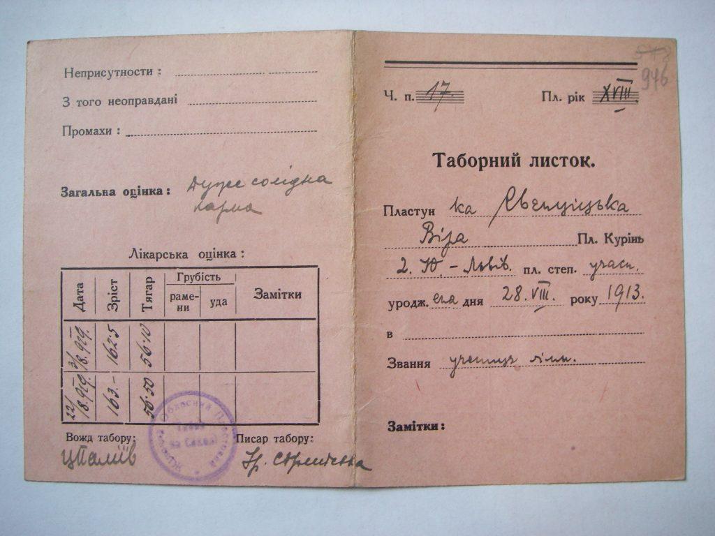 Табірний листок Віри Свєнціцької, Сокіл, 1929