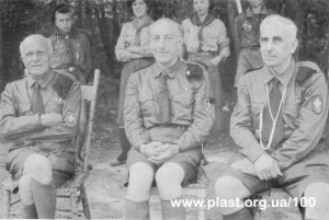 З ліва на право: Северин Левицький (Сірив Лев), Олександр Тисовський (Дрот) та Леонід Бачинський (Примружене Око), ЮМПЗ в Канаді, 1957