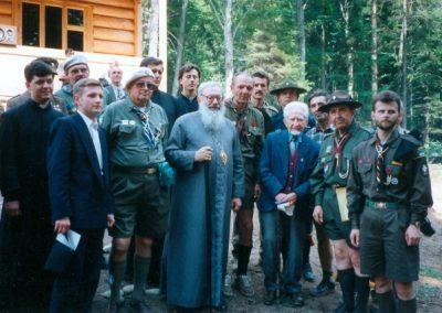 Любомир Гузар з пластунами на Соколі, 1997