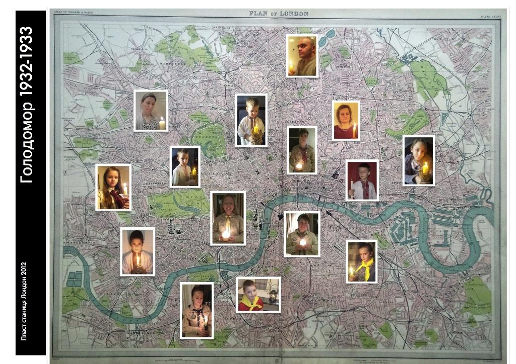 Пластуни Лондона запалили Свічки Пам'яті про Голодомор 1932-33