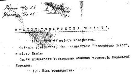 Статут товариства Пласт, 1926