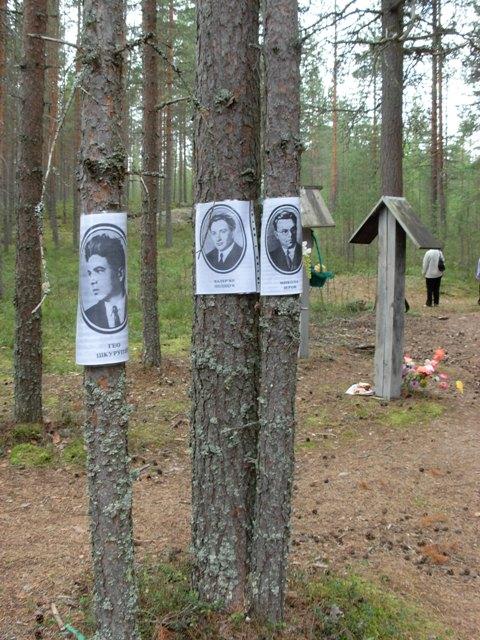 Традиційно на деревах вивішують портрети загиблих.  2009 р.