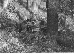 Реконструкція. Січовик на бойовій позиції з легким кулеметом VZ-26/30. Квітень 1939 р. Словаччина