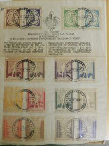 Зразки погашених поштових марок з Ювілейної Зустрічі в Міттенвальді, Німеччина, 1947