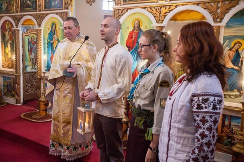 Передача Вифлеємського Вогню Миру українцям Мараморощини