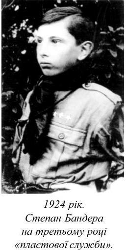 Степан Бандера на третьому році пластової служби 1924 рік