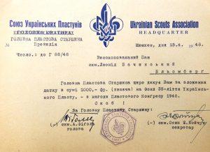 Подяка проф. Леоніду Бачинському