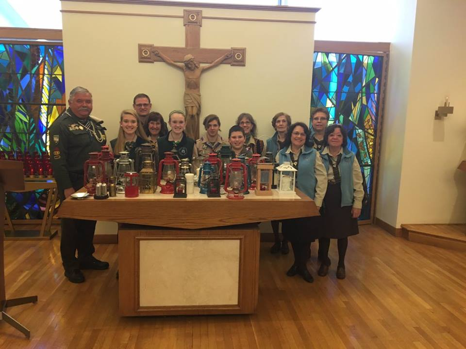Plast Ukrainian Scouts pick up their Peace Light for distribution throughout the United States and Canada