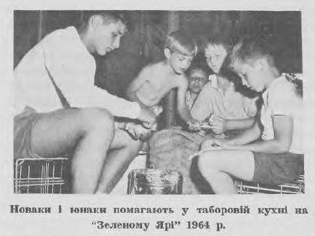 """Новаки 1 юнаки помагають у таборовій кухні на """"Зеленому Ярі"""" 1964 р"""