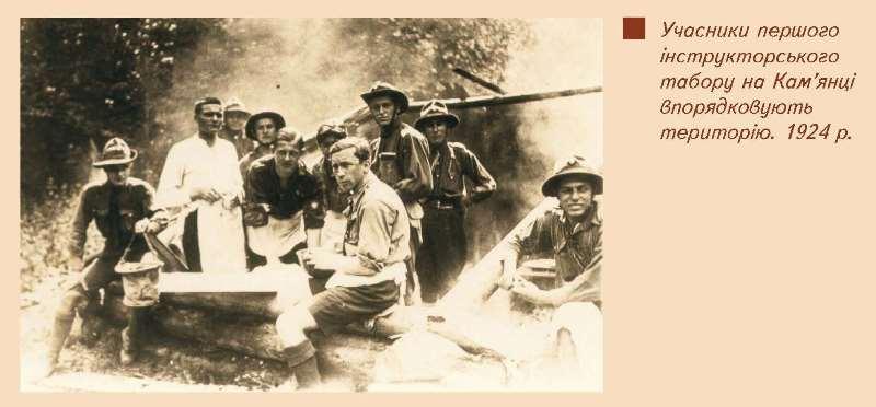 Учасники першого інструкторського табору на Кам'янці упорядковують територію, 1924