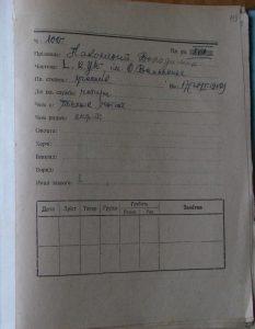 Облікова картка учасника табору на Соколі Володимира Наконечного