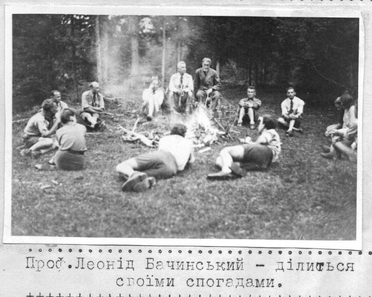 """Курінь """"Закарпатці"""", проф. Бачинський, Міттенвальд, Свято Весни 1947"""