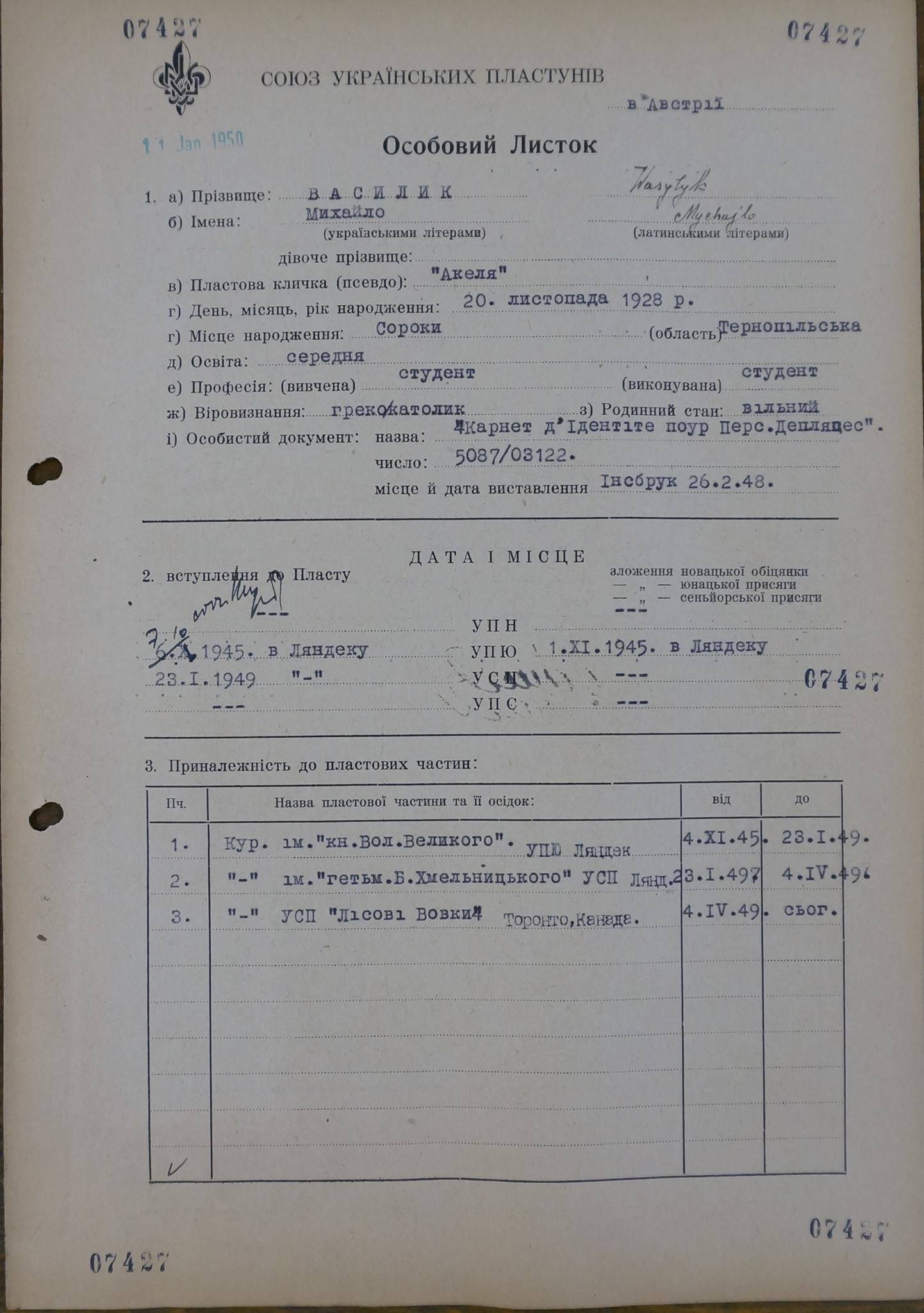 Михайло Василик - особовий листок