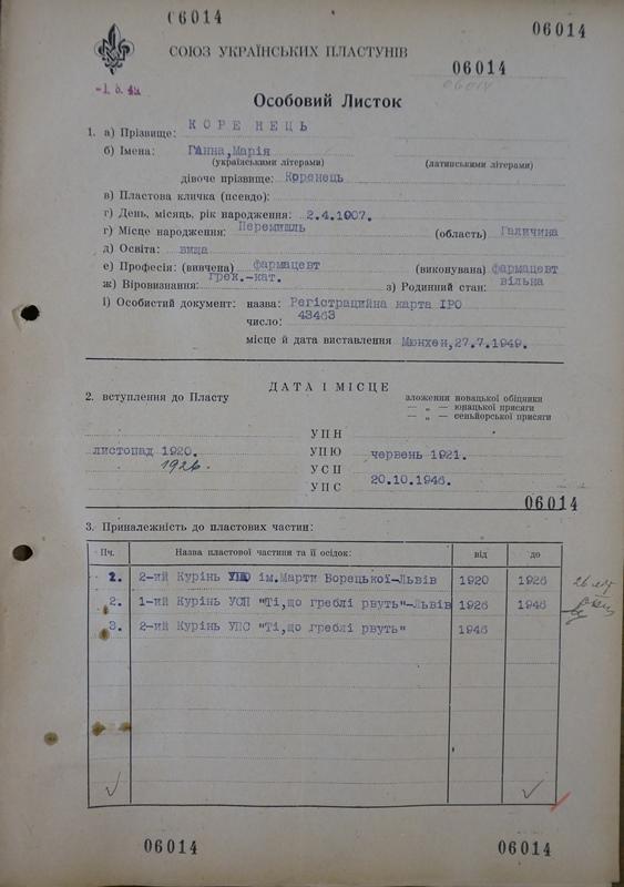 Особовий листок Ганки Коренець, Німеччина, з Пластового архіву у Клівленді