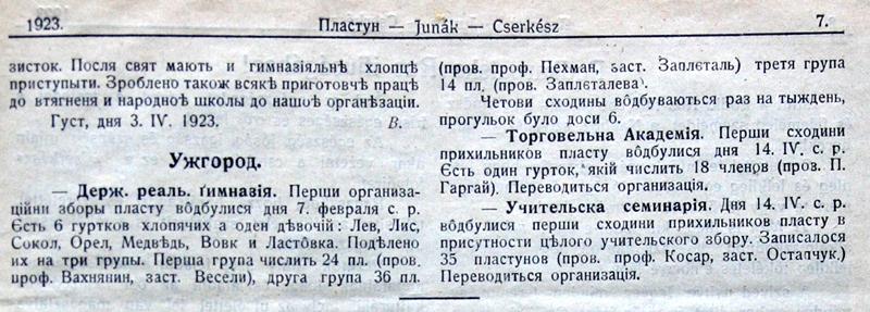 """Журнал """"Пластун..."""", ч. 1, 1923, інформація про створення пластових відділів в Ужгороді"""