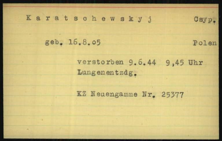 """Картка про загибель Осипа Карачевського у концтаборі Ноєнгамме з бази центру """"Архіви Арользена"""""""