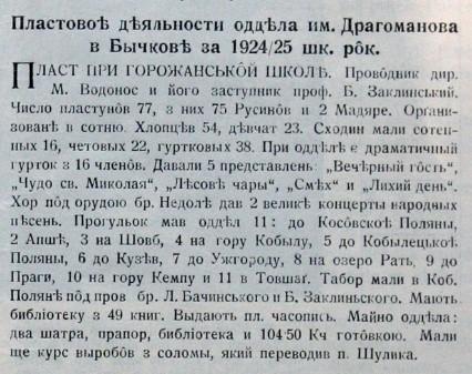 Пластові діяльності відділа ім. Драгоманова в Бичкові за 1924-1925