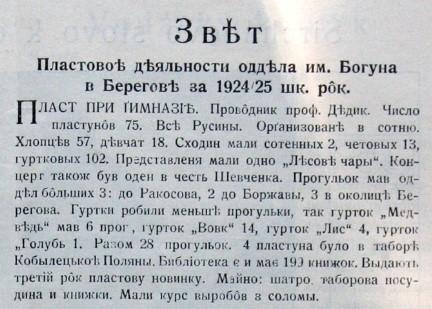 Звіт пластової діяльності відділа ім. Богуна в Берегові за 1924-1925