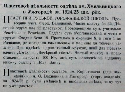Пластові діяльності відділа ім. Хмельницького в Ужгороді за 192-1925