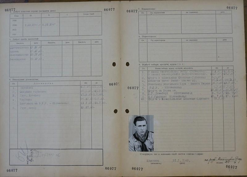 Особова справа Ігоря Стецури, Німеччина, 1949. Зберігається в Пластовому музеї в Клівленді